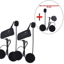 Extra 1 set accessories+2pcs updated V6 1200m Bluetooth Intercom for Motorcycle Helmet Headset Intercomunicador Moto 6 Riders