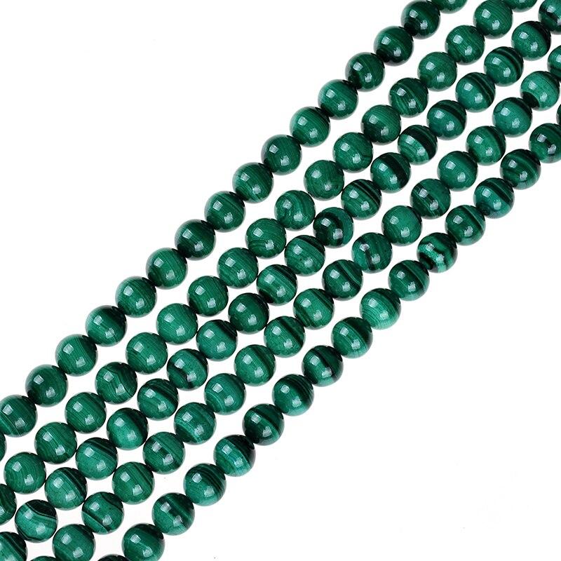5A Natural Stone Round Genuine Green Malachite Stone Beads Loose Strand Beads 15 6 10MM Pick Size DIY Jewelry Making Bracelets