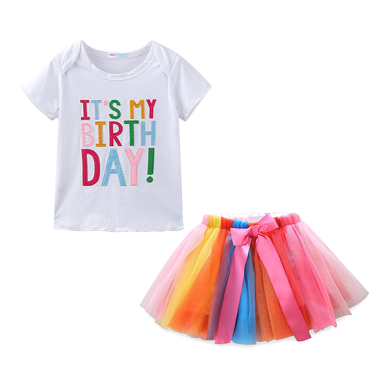 Mudkingdom Baby Girl Summer Clothes Set IT IS MY BIRTHDAY Shirts Rainbow Ball Gown And Tutu Skirt With Bow Outfits In Clothing Sets From Mother