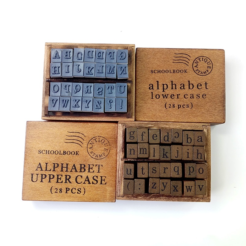 28 Pcs/set Vintage DIY Multi Purpose Alphabet Letter Schoolbook Stamp Set Wood Rubber Stamps Set Wooden Box 2 Style For Choose wholesale hot sale 30pcs set letter wood stamp alphabet stamps wooden box personalized motto handmade hobby sets free shipping