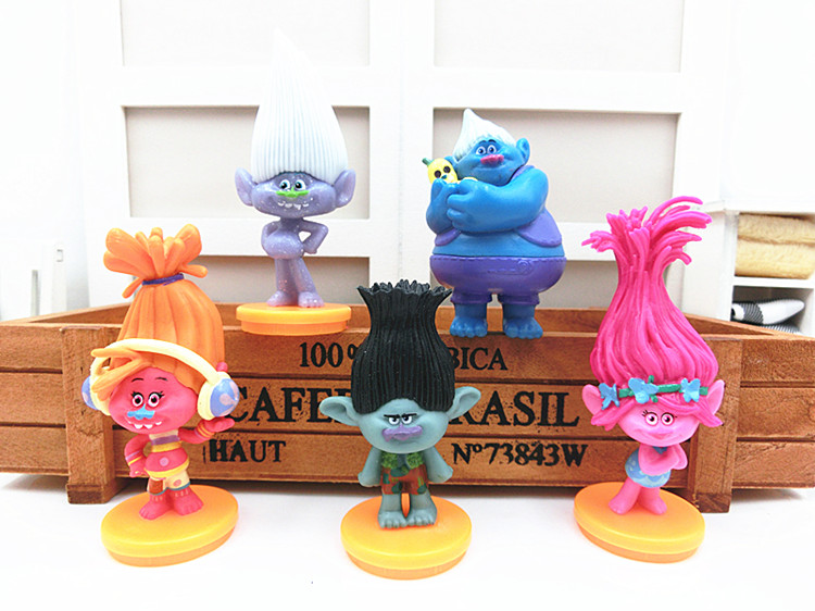 5pcs/lot Movie Trolls PVC Action Figures Toys 7cm Poppy Branch Biggie Collection Dolls for Kid Figures Model Toys Christmas Gift movie anung un rama resin action figure pvc hellboy comic figures child collection model toys for children 20 cm