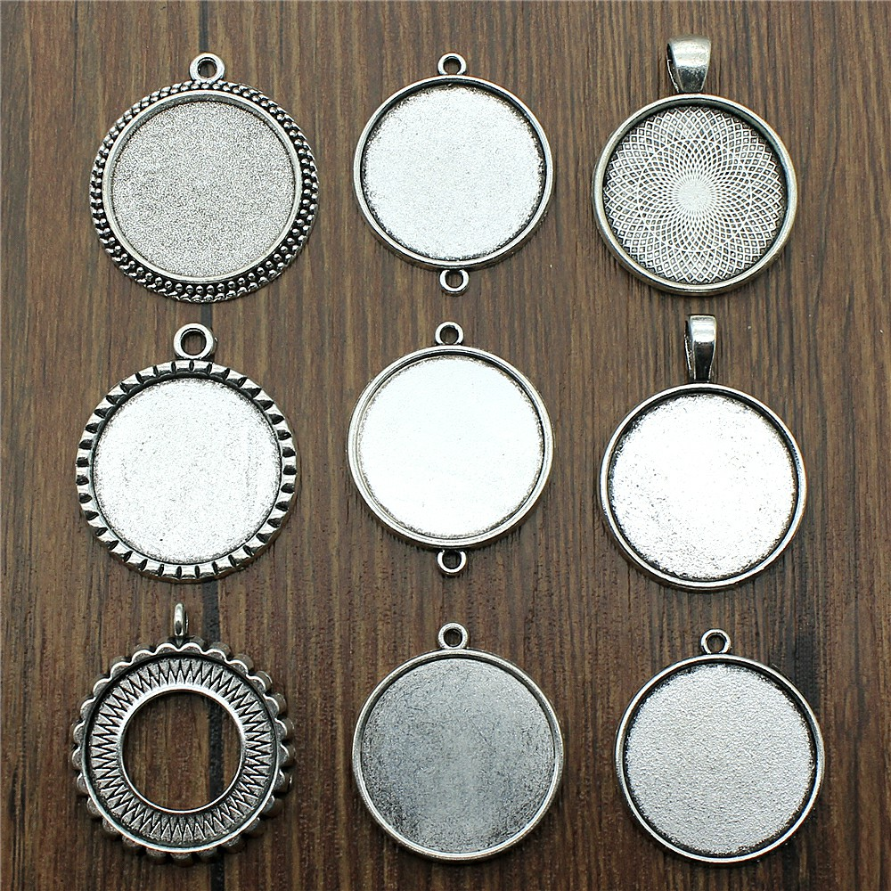 10 Antique silver 25mm cabochon connector tray settings for jewellery making