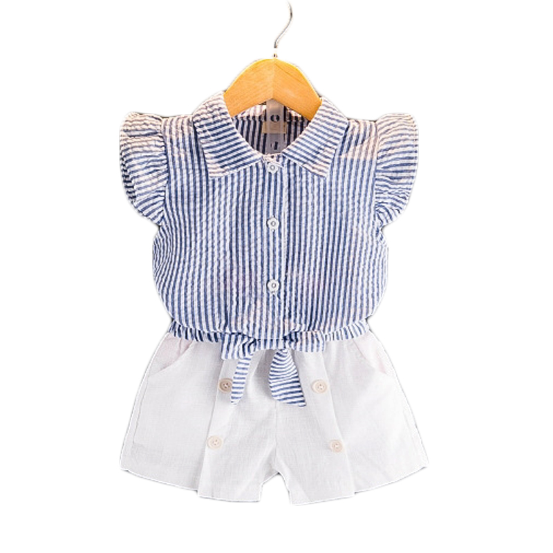 Girls Clothes 2 3 4 5 6 7 Year Children Clothing Set 2018 New Summer Kids Suits Striped Shirts White Shorts Toddlers Costume