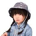 Cuenca del bebé de cap sombreros de verano sombrero del cubo del bebé lindo niño de las muchachas denim sombrilla niños pescador sombrero para niños outwear primavera