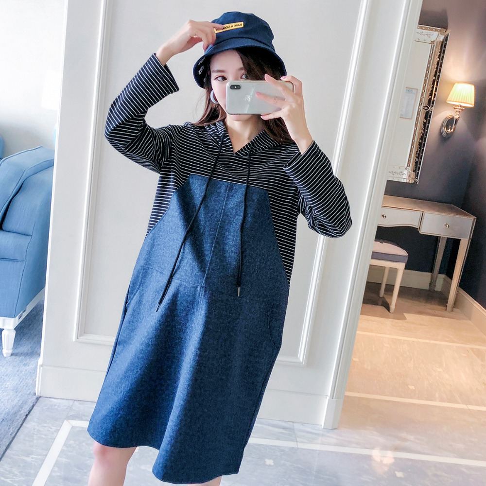 Pregnant women sweater autumn fashion 2018 new stitching striped denim shirt loose hooded maternity dress a line striped shirt dress