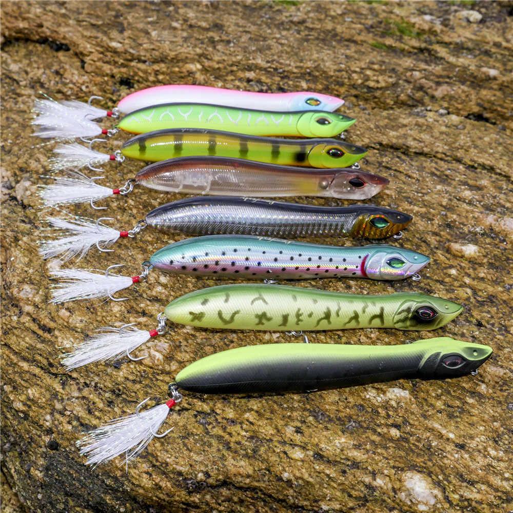 Le-Pesce Testa di Serpente 140 millimetri/25g di richiamo di Pesca Galleggiante Crankbait Mare Bass Pike lure Matita Esca topwater Popper Con Ganci Piuma