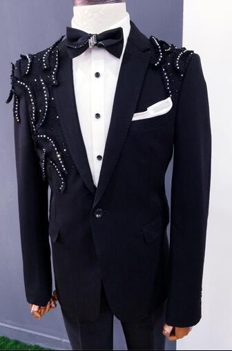 Vêtements noirs hommes costumes designs masculino homme terno scène costumes chanteurs veste hommes paillettes blazer danse star style robe - 2