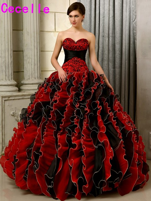 2017 Black And Red Gothic Wedding Dresses Ball Gown Colorful Sweetheart Embroidery Beaded Ruffles Organza Non