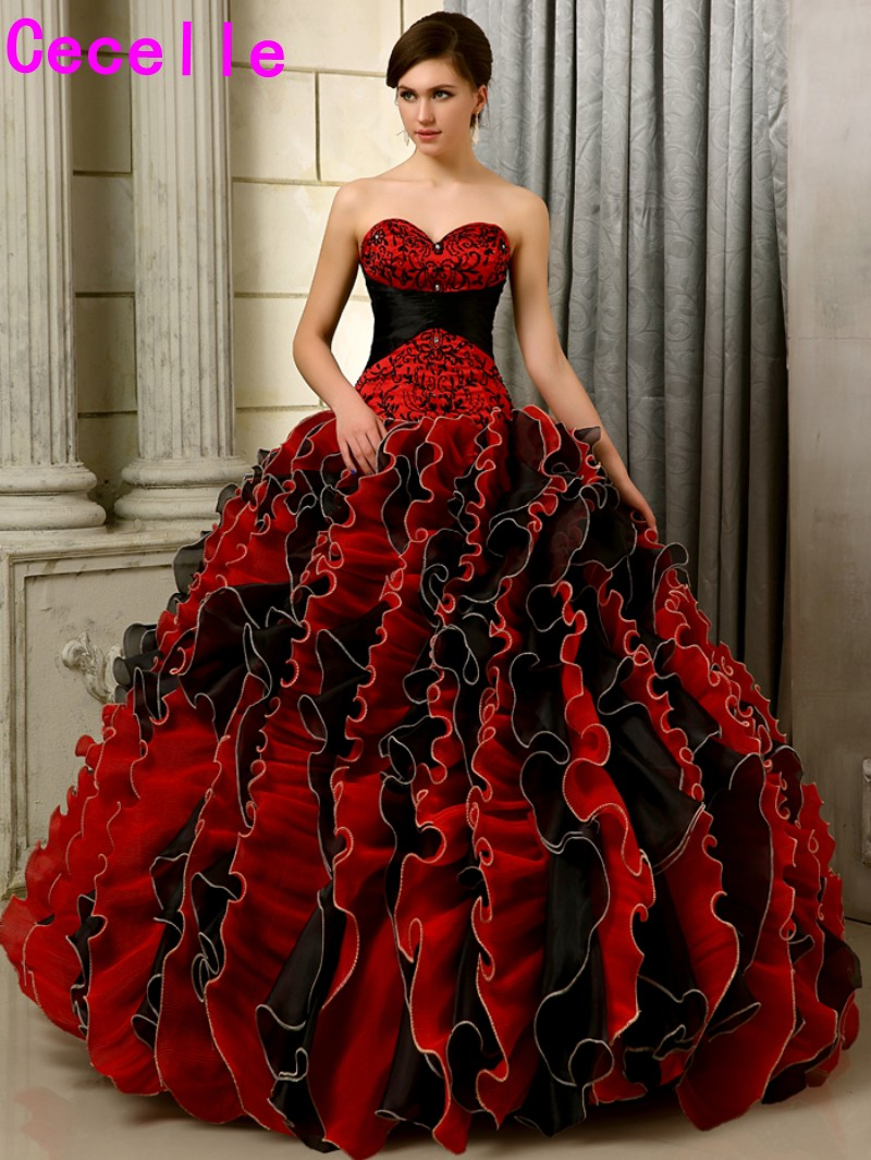 2017 Black And Red Gothic Wedding Dresses Ball Gown Colorful Sweetheart Embroidery Beaded Ruffles Organza Non White Bridal Gown