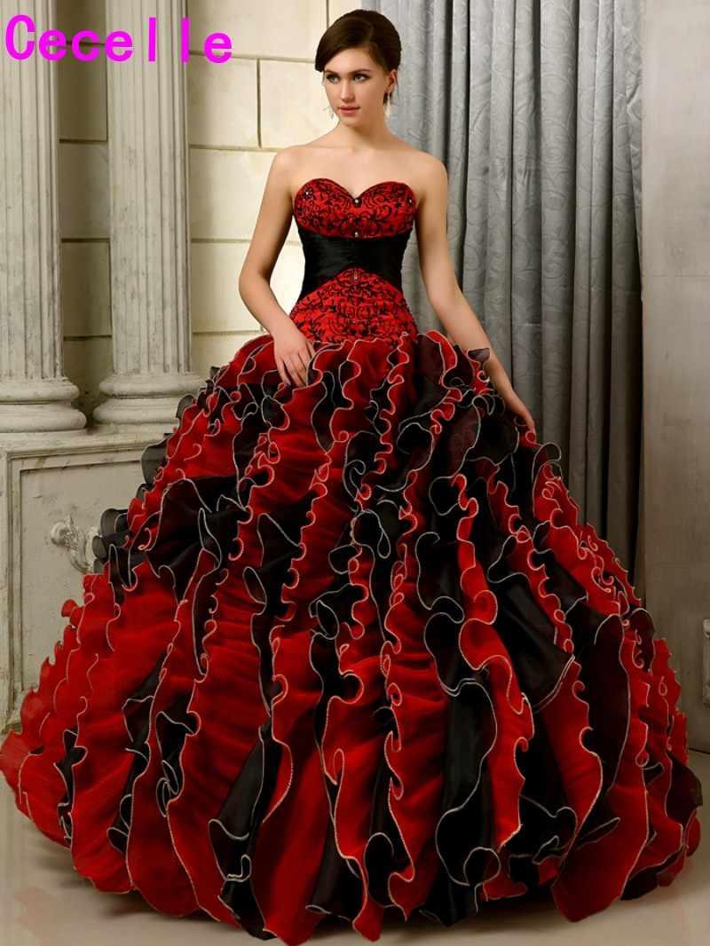 15 schwarz Und Rot Gothic Hochzeit Kleider Ballkleid Bunte Liebsten  Stickerei Perlen Rüschen Organza Nicht Weiß Brautkleid