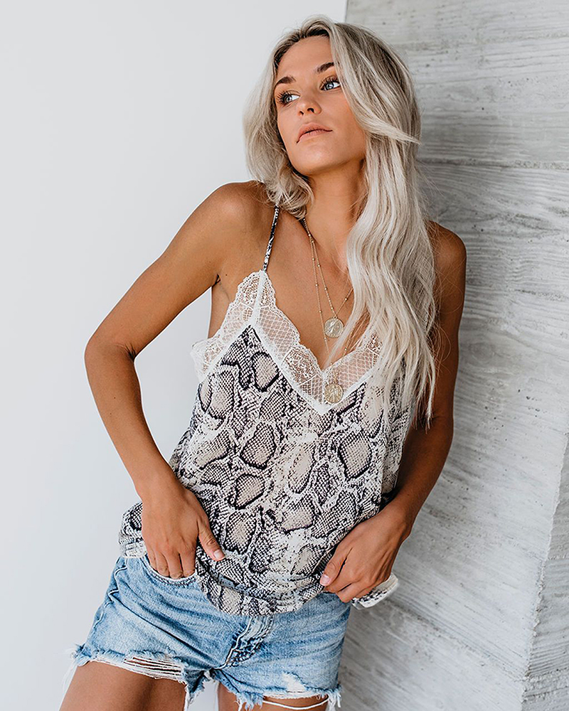 Female Lace Cami Tank Snakeskin Printed Women Seeveless Chiffon Cami Tops Sexy Summer Tank tops in Camis from Women 39 s Clothing