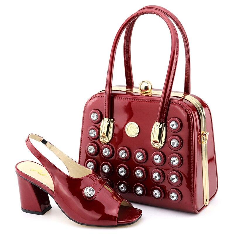 Pierres Grand Et Rouge Noce Élégant Sb8314 Italiennes Ebi Africain Ensemble Embrayages Sacs De Aso Vin 4 Sandal Sac Chaussures Pour fYEfxt