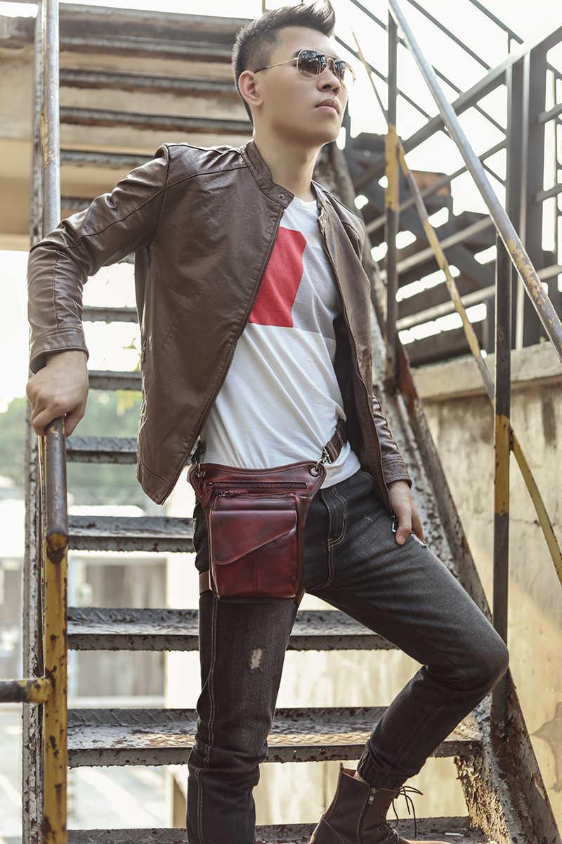 オリジナル革ブラウンカジュアルファッションスモールショルダーバッグメッセンジャーバッグデザイナー旅行ベルトウエストパックドロップ脚バッグ男性 211-3bu