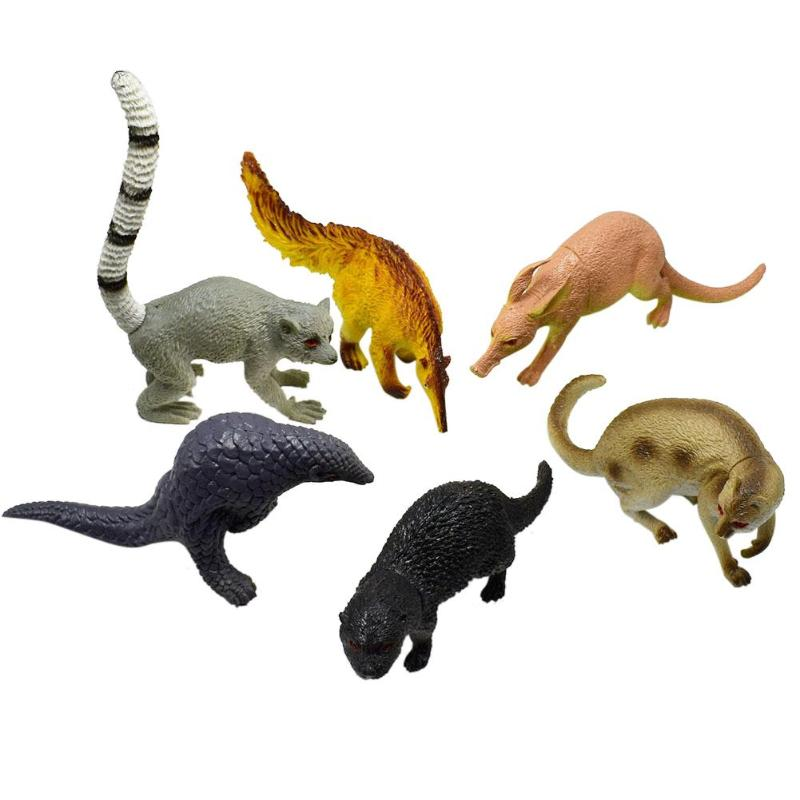 VKTECH Children Educational Biology Class Props 6pcs Simulated Animals Mammoth Saber Toothed Tiger Rhino Model Plastic Toys