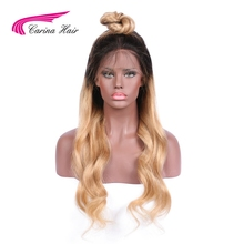 Carina Hair Body Wave T1B/27# Ombre Color Average Size Lace Front Wigs with Baby Hair Peruvian Non-Remy Human Hair Pre-Plucked