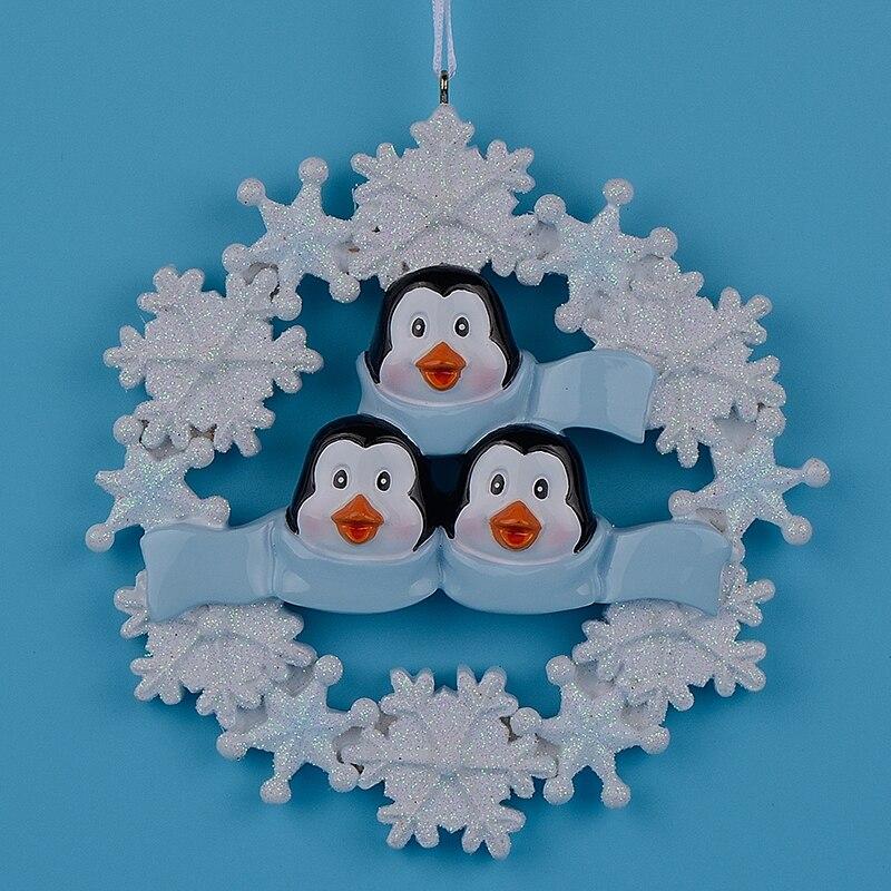 3 수 지 광택 눈송이 펭귄 가족 맞춤 크리스마스 장식품