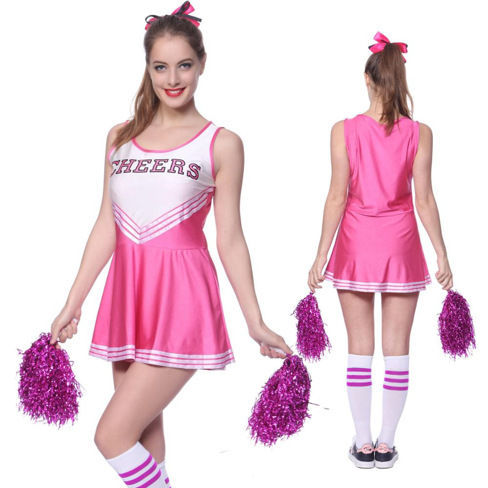 School Girl Cheerleader Costume Cheer Uniform Cheerleading Dress With Pom Poms Girls Musical Party Halloween Sports Fancy Dress
