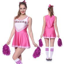 School Girl Cheerleader Costume Cheer Uniform Cheerleading Dress With Pom Poms Girls Musical Party Halloween Sports Fancy Dress metallic color cheerleader pom poms w plastic handle deep pink