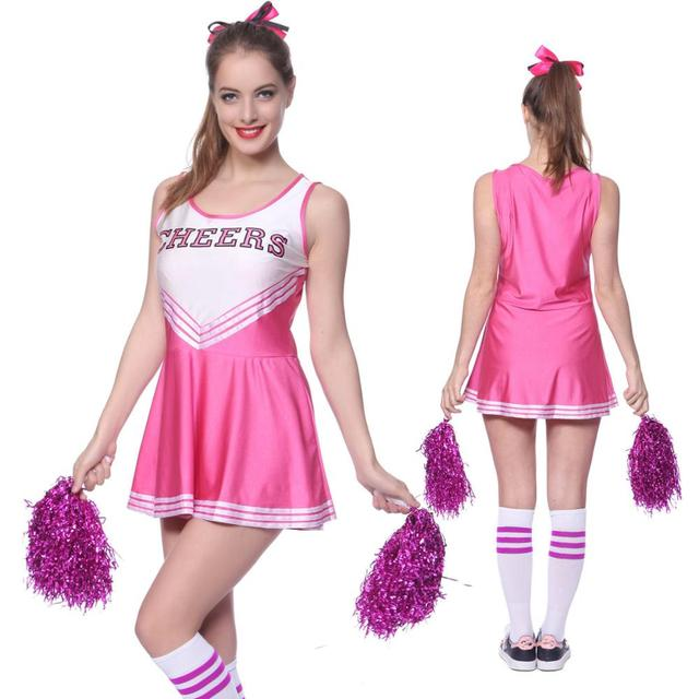 6de22efa6ad US $14.01 38% OFF|School Girl Cheerleader Costume Cheer Uniform  Cheerleading Dress With Pom Poms Girls Musical Party Halloween Sports Fancy  Dress -in ...