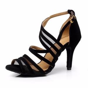 Image 3 - Women Ballroom Latin Dance Shoes Black Salsa Shoes High heels 6/7.5/8.5cm Red Samba Tango Kizomba Dance shoes Soft Sole 1126