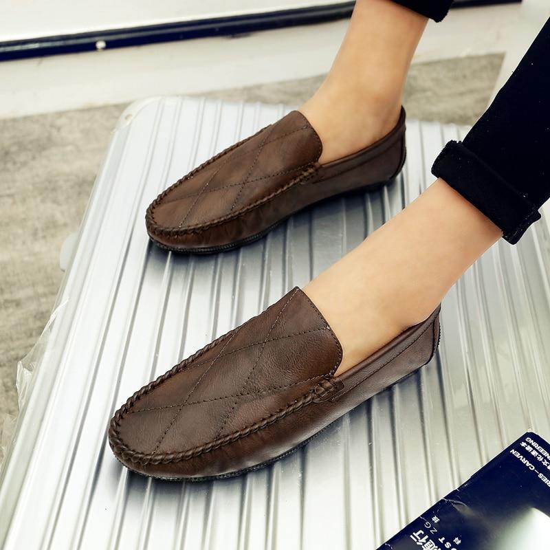 Mâle Pour Kaki Brun Casual Printemps Automne khaki Mocassins Homme Voiture Classique Chaussures Hommes Plat Black brown Léger qCvHxO