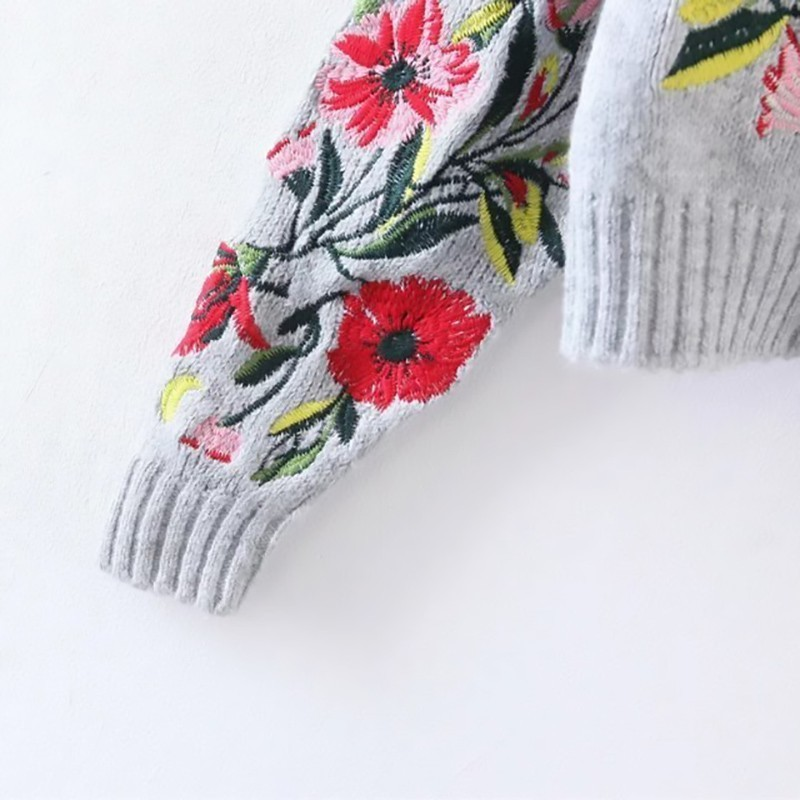 Flower Embroidered Sweater  5