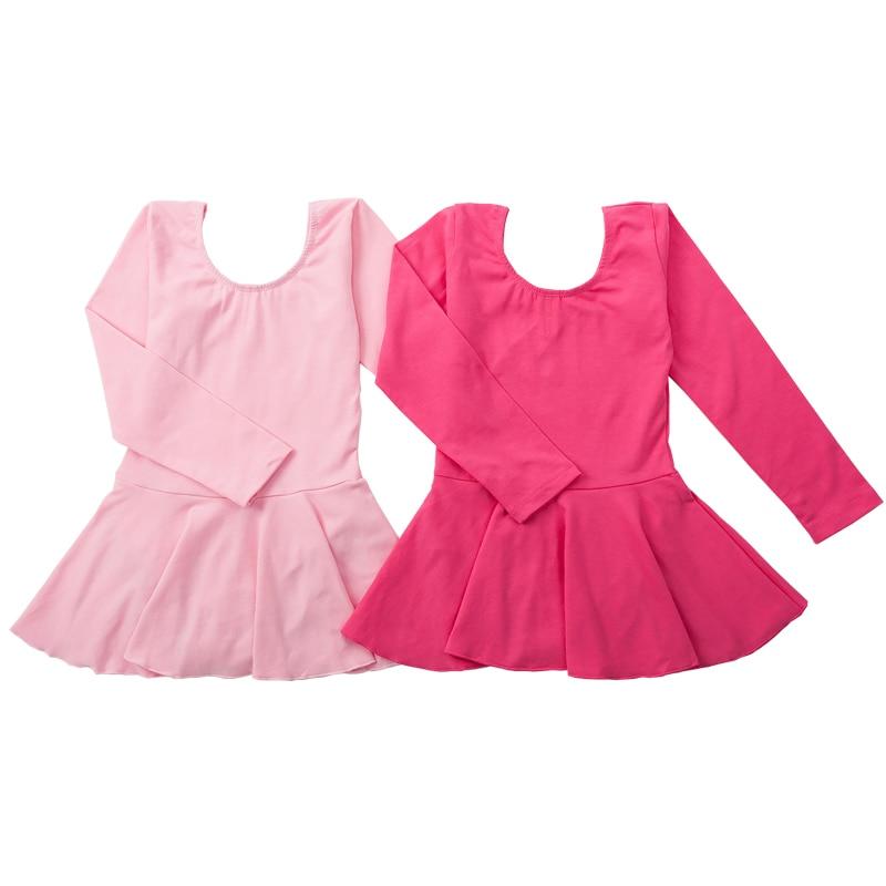 Long Sleeved Spandex Cotton Girls Gymnastics Leotard Ballet Dress Dancing Kids Dance Wear Dresses For Girl Bodysuit D009