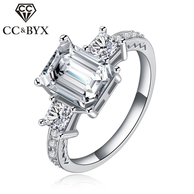 CC Party Rings White Gold color Engagement Vintage Rings for Women Wedding Bands Fashion Jewelry Gifts CC032