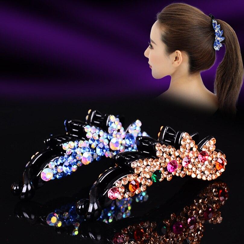 AWAYTR Korean Crystal Banana Clip Hair Clips For Girls Hairpin Rhinestone Women Hair Accessories Hair Claw Bezel Barrettes