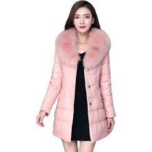 Genuine Sheepskin Leather Suede Down Parkas Coat Jacket Real Fox Fur Collar Autumn Winter Women Slim Outerwear Coats LF4051