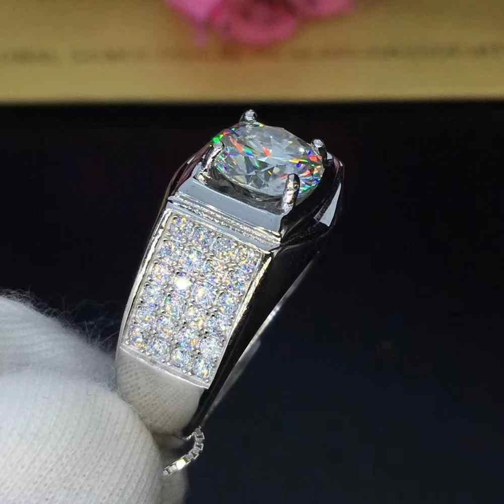 เงิน Moissanite แหวน 2ct 8.00 มม. D VVS Luxury Moissanite Weding แหวนสำหรับบุรุษ
