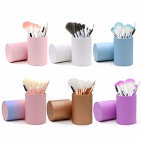 Professional 10pcs Makeup Brushes Portable Eyeshadow Powder Foundation Cosmetic Brushes Kit Makeup Tools With Cup Holder