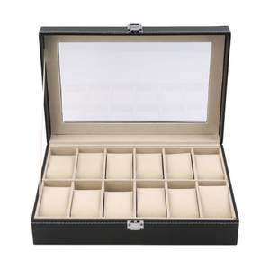 Watch Case Storage-Organizer Black-Color Display-Box Jewelry Grid Locked with 6/12-Slots