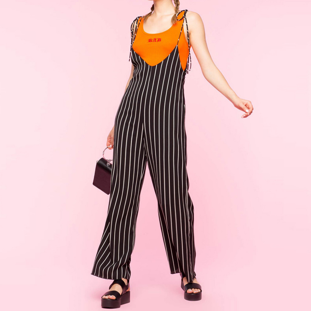 Plus Size XXL Jumpsuits For Women 2020 Sexy Stripe Printed Bohemia Camis Long Loose Jumpsuits Polyester Casual Bodysuit A10 AP2