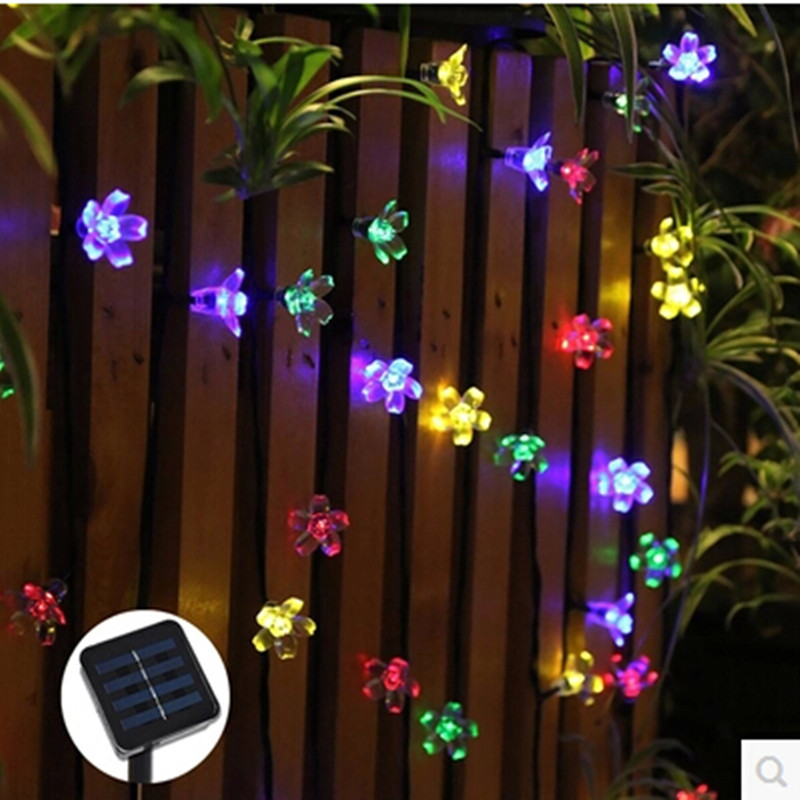 luminarias led solar panel lights lawn spotlight wall lamp new year christmas garland light garden outdoor floodlight decoration LED Solar Peach Blossom String Lights New Year Christmas Tree Garland Waterproof Outdoor Garden Home Lamp lighting decoration