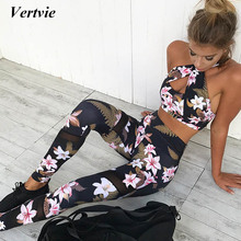 Vertvie Floral Printed Women's Tracksuit Hollow Out Sexy Halter Yoga Bra + Sport Legging Tights Running Gym Fitness Yoga Suit