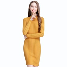 Fashion Autumn font b Dress b font Long Sleeves O neck Casual Jumper Pullover Elastic Soft