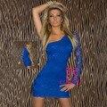 Новая Коллекция Европейский Стиль 2014 Платья Женщин Сексуальное платье Blue Lace оболочка Короткие Одно Плечо Платье Плюс Размер M, L, XL, XXL