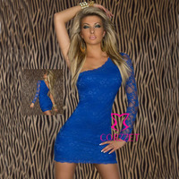 New Collection European Style 2014 Dresses Women Sexy Clubwear Blue Lace Sheath Short One Shoulder Dress