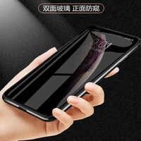 Luxe anti-dérapant double face en verre téléphone étui pour iphone xs max xr X 7/8plus cadre en métal magnétique anti-peep coque de téléphone