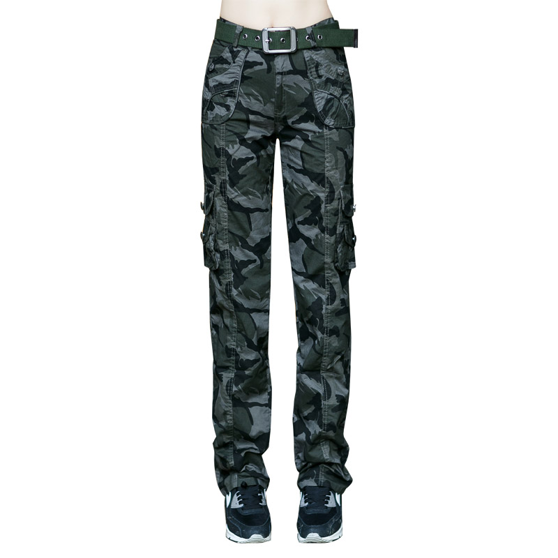 Women's Casual Military Camouflage Cargo Jeans Pants More Pocket Workout Loose Straight Cotton Army Green Trousers Female