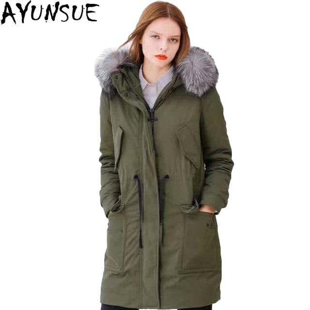 AYUNSUE Ganso Para Baixo Mulheres Jaqueta Casaco de Inverno Luxo Gola de  Pele De Raposa Naturais d1642d28e154