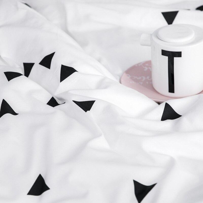 INS Nordic einfache baumwolle schwarz und weiß käse plaid bettwäsche set twin königin könig größe bettwäsche voller größe bett set - 5