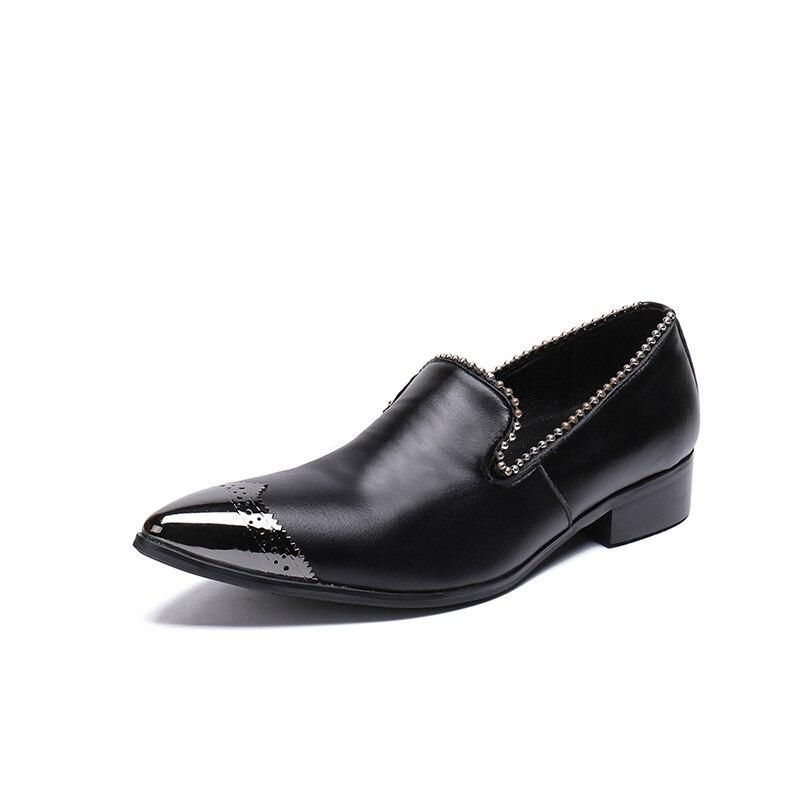 Do Preto Partido De Marca Metal Feitos Dos Mão Baixos À Sapatos Homens Luxo Pé Dedo Leathe gnq7Ta