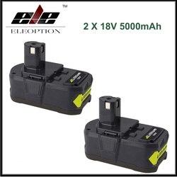 2x Eleoption 18 V 5000 mAh akumulator litowo-jonowy do obsługi Ryobi P108 RB18L40 P2000 P310 dla Ryobi dla jeden + BIW180
