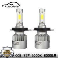 Autoleader 1Set S2 COB Car Headlight LED Automobiles Light H4 H7 H11 9006 9005 72W 6500K