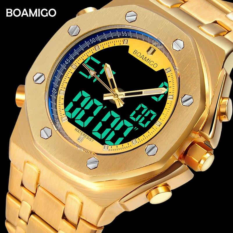 BOAMIGO brand men sports watches fashion dual display digital watches quality stainless steel wristwatches 30m waterproof clock