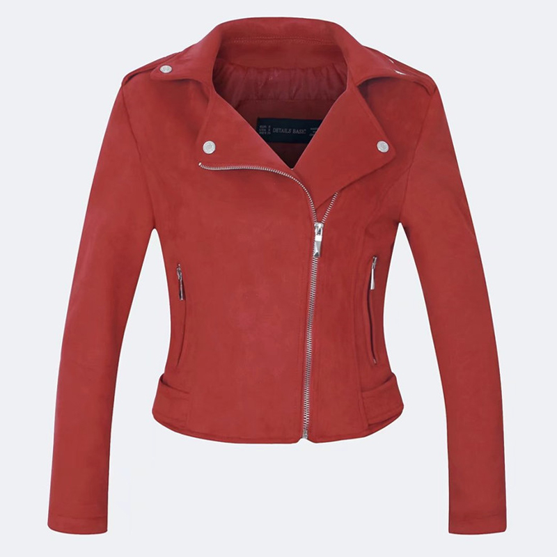 Ailegogo New Women Winter   Suede   Faux   Leather   Jackets Lady Gray Pink Red Outwear Matte Motorcycle Coat Biker Punk Bomber Jacket