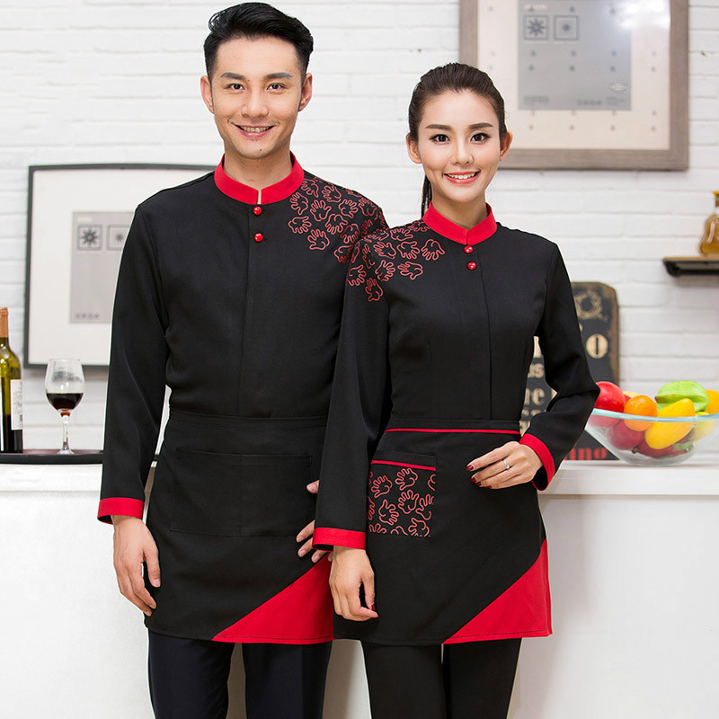 Hot Pot Restaurant Coffee Shop Waiter Uniforms  Female Hotel Waiter Korean Clothes With Long Sleeves With Apron