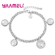 Charming Jewelry Bracelet Bangles Pretty 925 Sterling Silver Cubic Zircon Paved Accessories Life Tree Pendant present For Girl(China)